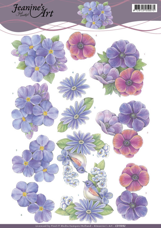 CD11092 3D Knipvel - Jeanines Art - Purple Flowers