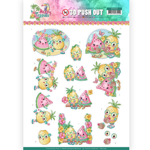 SB10363 3D Pushout - Yvonne Creations - Happy Tropics -Tropical Fruits