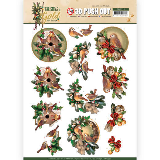 SB10370 3D Pushout - Amy Design - Christmas in Gold - Birds in Gold (HJ172)