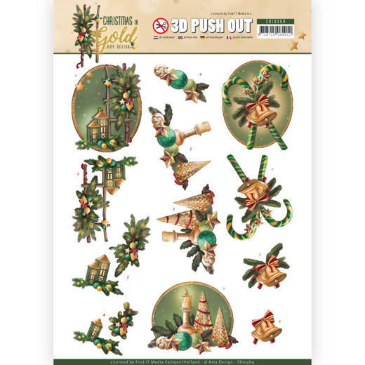 SB10369 3D Pushout - Amy Design - Christmas in Gold - Lanterns in Gold (HJ172)