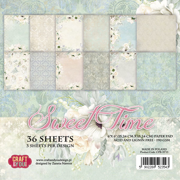 "CPB-ST15 SWEET TIME Small Paper Pad 6x6"" , 36 sheets,190 gsm"