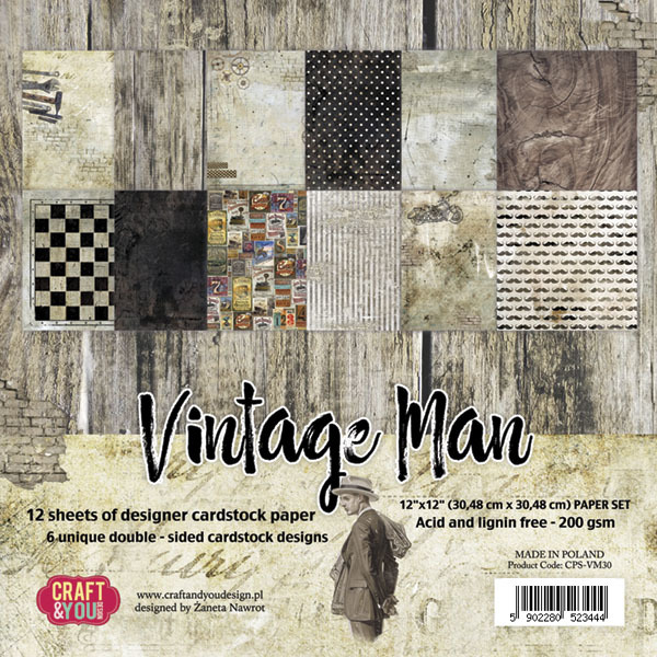 "CPS-VM30 VINTAGE MAN BIG Paper Set 12x12"", 12 sheets ( 200 gsm )"