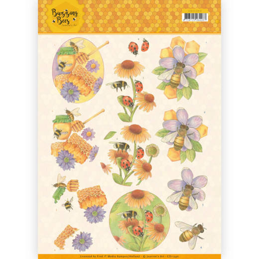CD11340 3D knipvel - Jeanines Art - Buzzing Bees - Sweet Bees