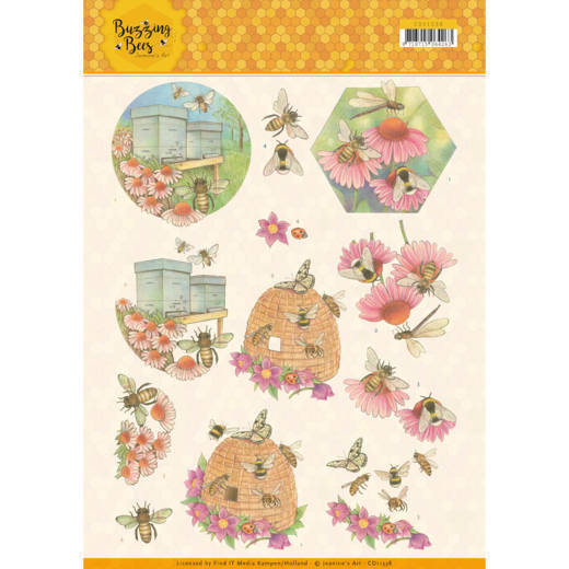 CD11338 3D knipvel - Jeanines Art - Buzzing Bees - Working Bees