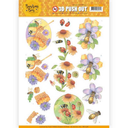 SB10368 3D Pushout - Jeanines Art - Buzzing Bees - Sweet Bees