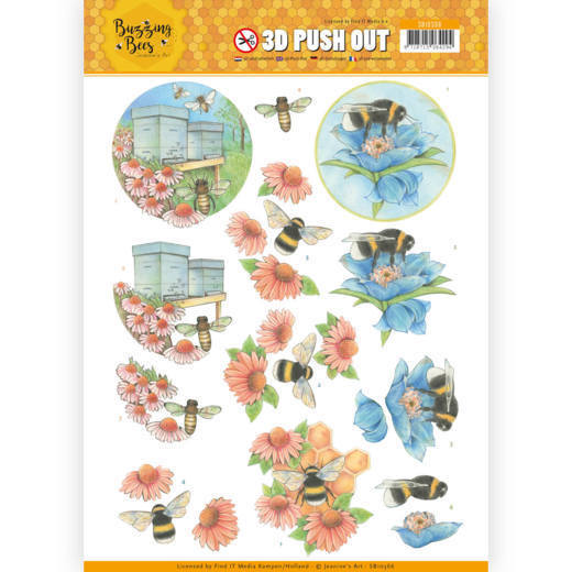 SB10366 3D Pushout - Jeanines Art - Buzzing Bees - Working Bees