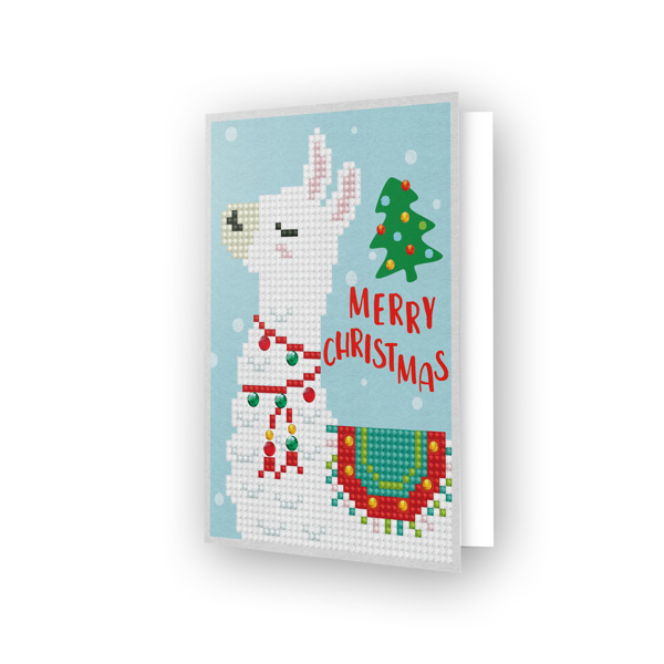 DDG.003 DIAMOND DOTZ® - 12.6x17.7 cm - Greeting Card MERRY CHRISTMAS LLAMA