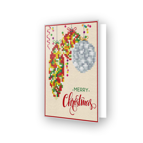 DDG.010 DIAMOND DOTZ® - 12.6x17.7 cm - Greeting Card MERRY CHRISTMAS BAUBLES TRAD
