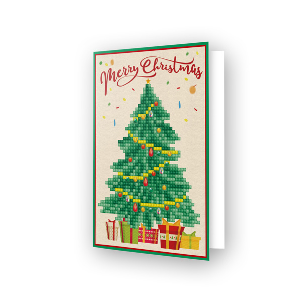 DDG.014 DIAMOND DOTZ® - 12.6x17.7 cm - Greeting Card MERRY CHRISTMAS TREE