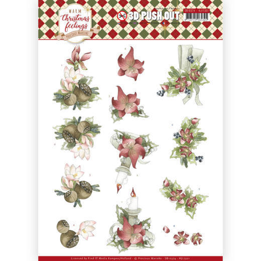 SB10374 3D Pushout - Precious Marieke - Warm Christmas Feelings - Red Center Pieces (HJ173)