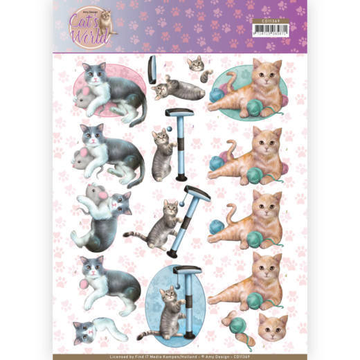 CD11369 3D Knipvel - Amy Design - Cats World - Playing Cats