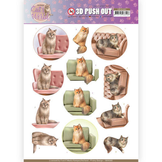 SB10382 3D Pushout - Amy Design - Cats World - Show Cats