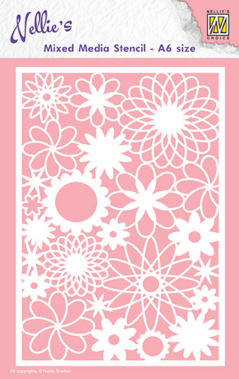 MMSA6-006 Mixed media stencils A6 size flowers