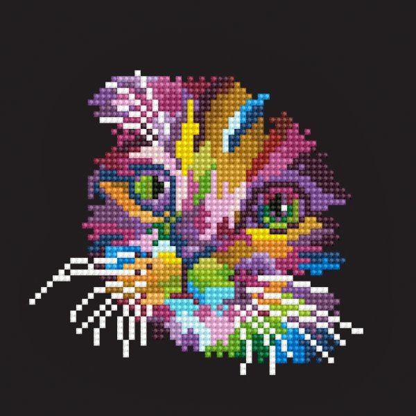 50460 DIAMOND ART - 20.32 x 20.32cm Kits Colored Cat
