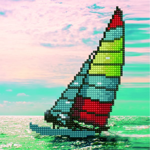 50465 DIAMOND ART - 20.32 x 20.32cm Kits Sailboat