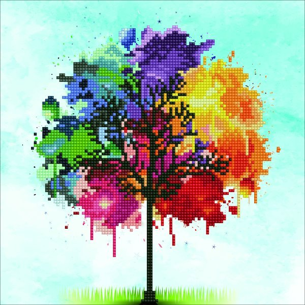 50456 DIAMOND ART - 30.48x30.48cm Kits Rainbow Tree