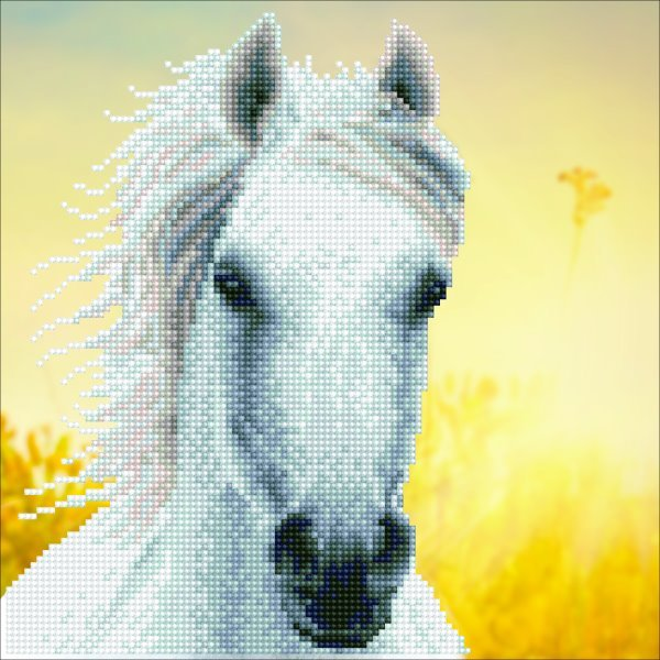 50461 DIAMOND ART - 30.48x30.48cm Kits White Horse