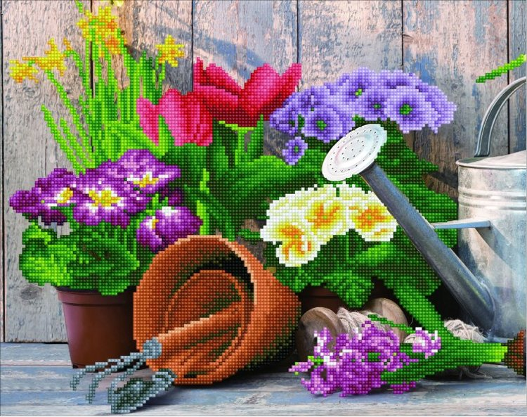 50449 DIAMOND ART - 47x37cm - Kits Spring Gardening
