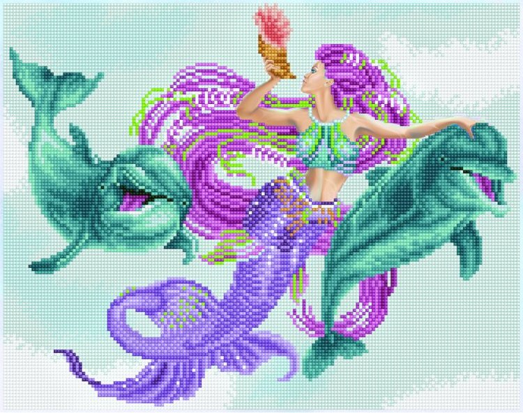 51149 DIAMOND ART - 47x37cm Kits Mermaid and Friends