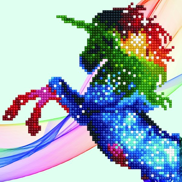 50484 DIAMOND ART - 20.32 x 20.32cm Kits Rainbow-ombre unicorn