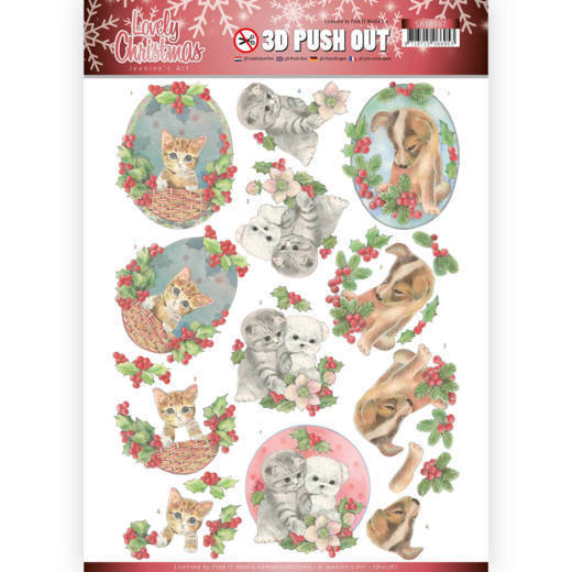 SB10387 3D Pushout - Jeanine's Art - Lovely Christmas - Lovely Christmas Pets (HJ174)