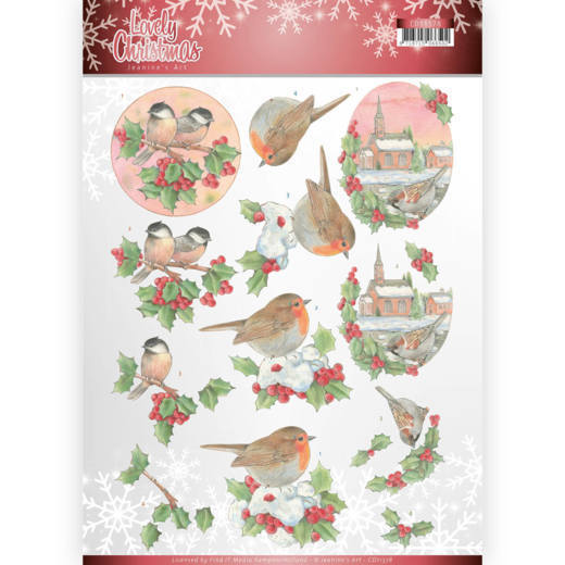 CD11378 3D Knipvel - Jeanine's Art - Lovely Christmas - Lovely Birds (HJ174)