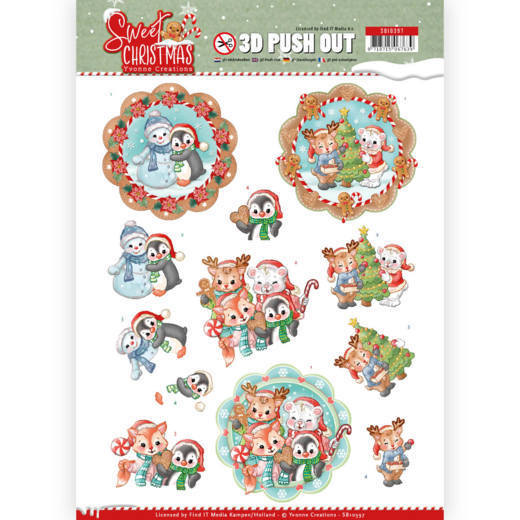 SB10397 3D Pushout - Yvonne Creations - Sweet Christmas - Sweet Winter Animals (HJ175)