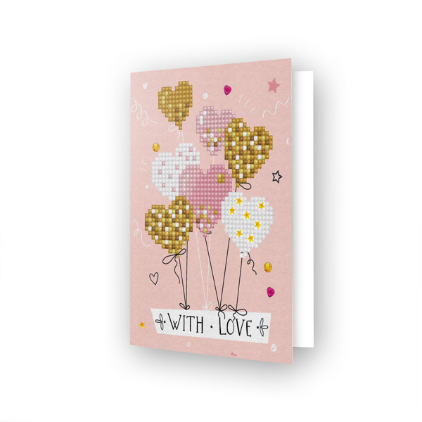 DDG.016 DIAMOND DOTZ® - 12.6x17.7 cm - Greeting Card LOVE BALLOONS