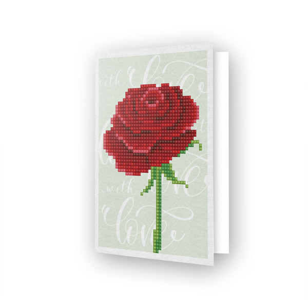 DDG.017 DIAMOND DOTZ® - 12.6x17.7 cm - Greeting Card LOVE ROSE