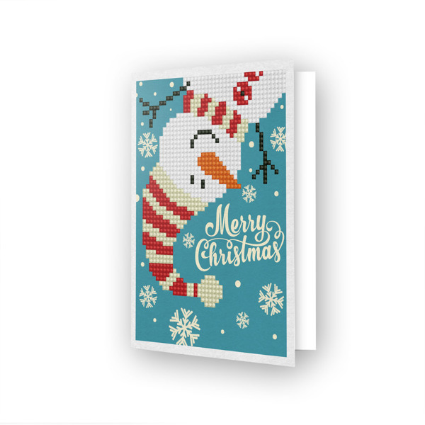 DDG.019 DIAMOND DOTZ® - 12.6x17.7 cm - Greeting Card MERRY CHRISTMAS SNOWMAN