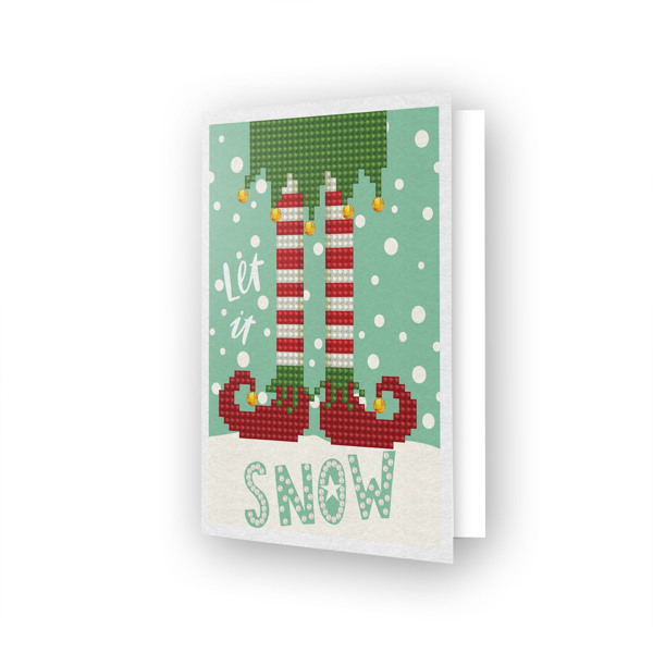 DDG.021 DIAMOND DOTZ® - 12.6x17.7 cm - Greeting Card LET IT SNOW