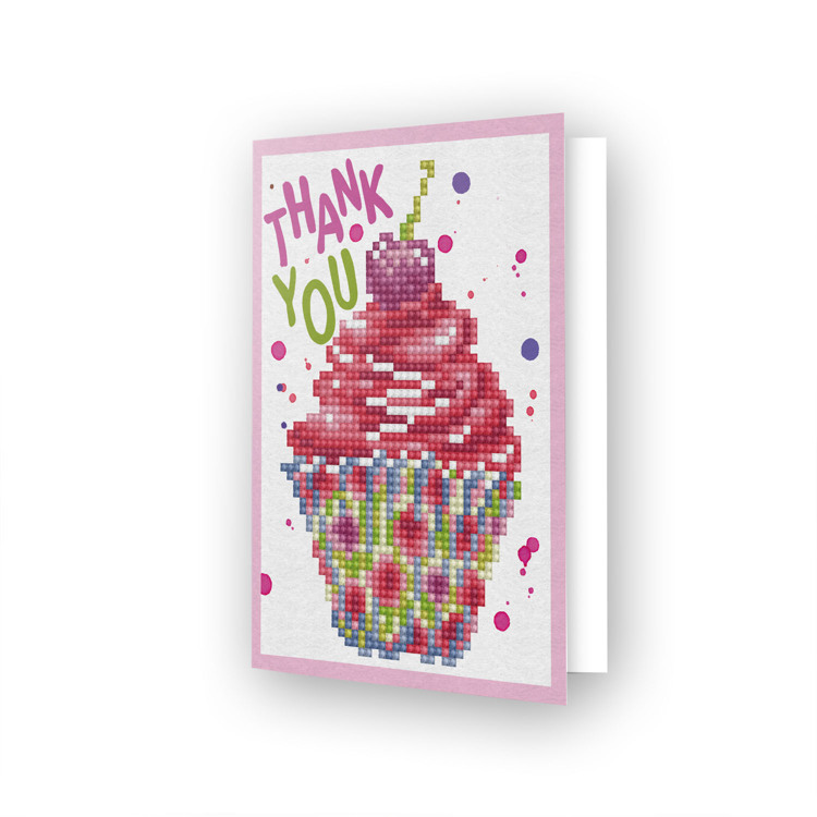 DDG.025 DIAMOND DOTZ® - 12.6x17.7 cm - Greeting Card CUP CAKE THANK YOU