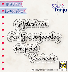 DTCS027 Clear stamps Dutch texts Proficiat etc..