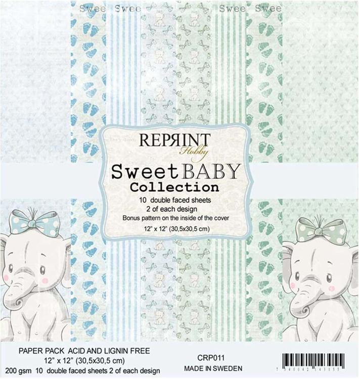 CRP011 Sweet Baby Collection pack Blue 12x12 10 Sheets