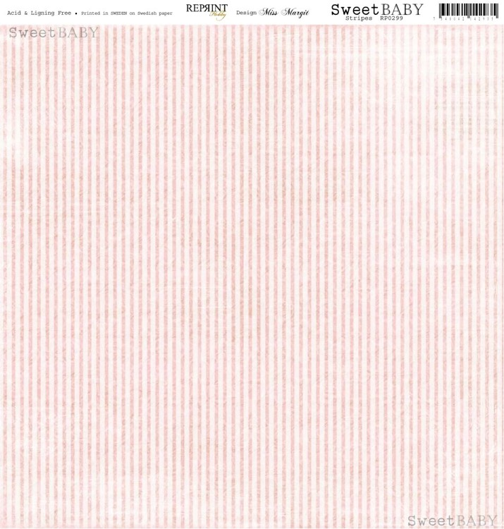 RP0299 Sweet Baby Pink Stripes 12x12""