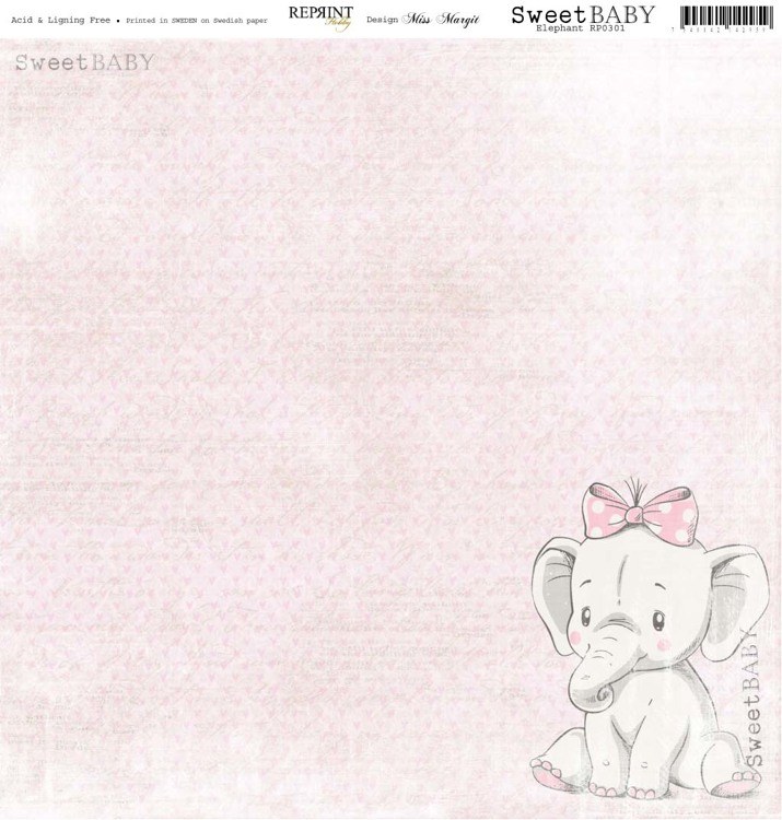 RP0301 Sweet Baby Pink Elephant 12x12""