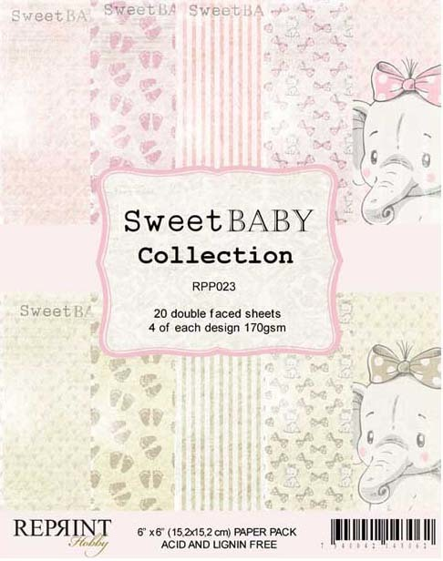 RPP023 Sweet Baby Collection pack Pink 6x6 20 Sheets