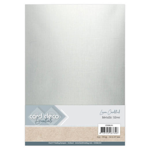 CDEML001 Card Deco Essentials - Metallic Linnenkarton - Metallic Silver