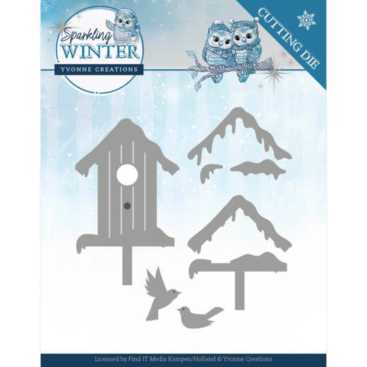 YCD10190 Dies - Yvonne Creations - Sparkling Winter - Winter Birdhouse (HJ176)