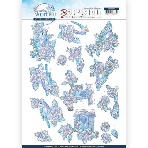 SB10404 3D Pushout - Yvonne Creations - Sparkling Winter - Winter Birds (HJ176)