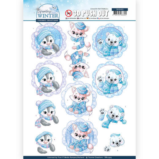 SB10403 3D Pushout - Yvonne Creations - Sparkling Winter - Winter Friends (HJ176)