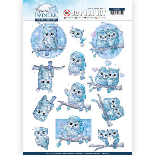 SB10402 3D Pushout - Yvonne Creations - Sparkling Winter - Winter Owls (HJ176)