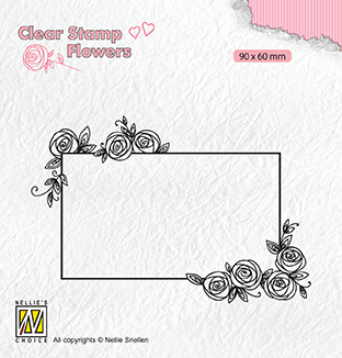 FLO019 Clear stamps Flowers rectangle frame with roses