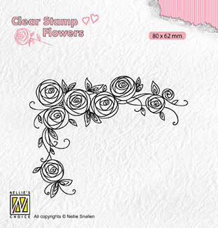 FLO022 Clear stamps Flowers Roses corner