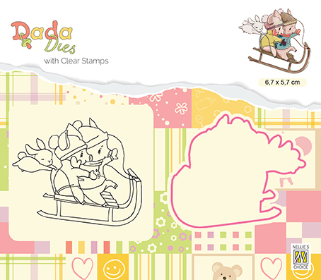 DDCS017 Die & clear stamp Wintertime Sledging