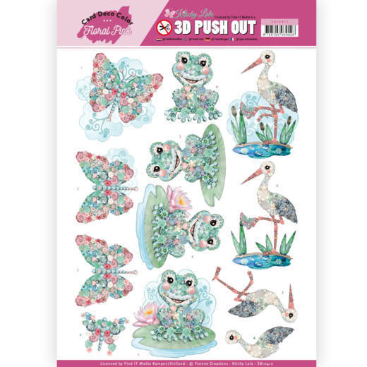 SB10412 3D Pushout - Yvonne Creations - Floral Pink (Kitschy Lala) - Kitschy Frog