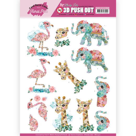 SB10410 3D Pushout - Yvonne Creations - Floral Pink (Kitschy Lala) - Kitschy Animals