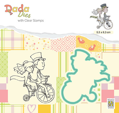 DDCS027 DADA Set Die & Clear stamp marriage Love on a bike