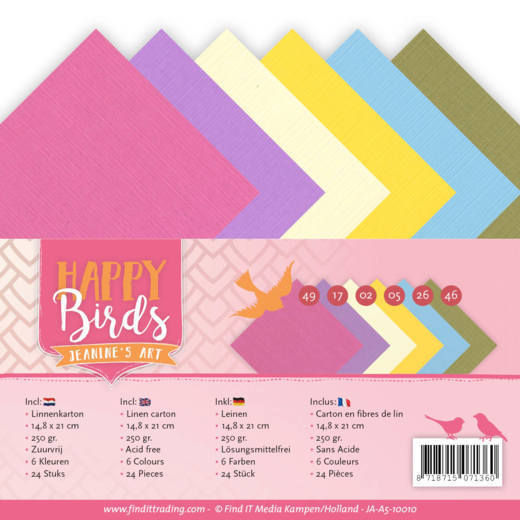 JA-A5-10010 Linnenpakket - A5 - Jeanine's Art - Happy Birds (HJ179)