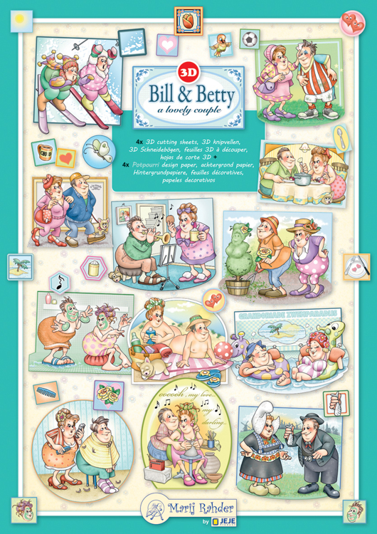 9.0164 Bill & Betty set 4 3D cutting sheets + 4 PP sheet